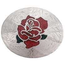 Coral Rose Silver Belt Buckle 24270