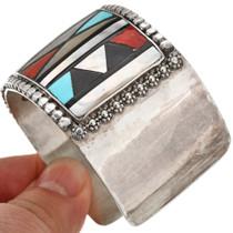 Vintage Zuni Inlaid Sterling Cuff Bracelet by Herbert Esther Cellicion 0319