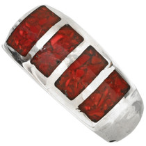 Inlaid Red Coral Navajo Mens Ring 29765
