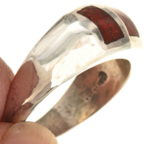 Sterling Coral Native American Mens Ring 29765