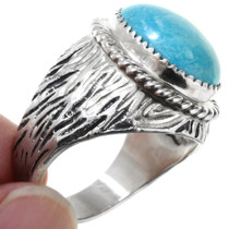 Navajo Grooved Sterling Silver Turquoise Ring 27093