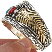 Gold Feathers Turquoise Coral Cuff 24247