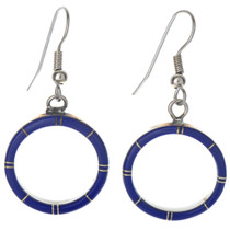 Inlaid Lapis Hoop Silver Earrings 19662