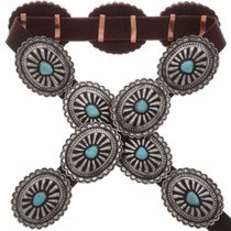 Turquoise Silver Southwest Concho Belt 25409