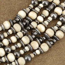 Wholesale Lot of 12 5mm to 8mm Graduated Bone and Antiqued Brass Bali Bead Strands