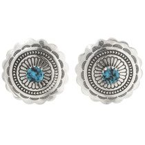 Kingman Turquoise Silver Post Earrings 27322