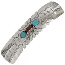 Turquoise Coral Navajo Sterling Hair Barrette 27760