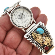 Silver Gold Turquoise southwest Mens Watch 28917