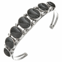 Onyx Sterling Bracelet Seven Stone Ladies Cuff 27923