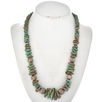 Navajo Turquoise Bead Silver Necklace 22728