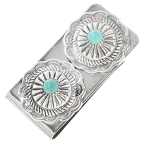 Navajo Turquoise Silver Money Clip 24738