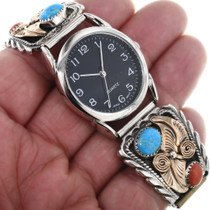 Gold Silver Turquoise Mens Watch 24498