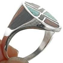 Navajo Coral Jet Silver Ring 25519