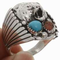 Mens Turquoise Coral Ring 22419