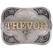 Custom Silver Gold Name Trophy Belt Buckle 22106