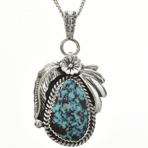 Navajo Turquoise Silver Pendant 29178