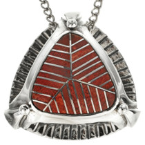 Southwest Inlaid Coral Slider Pendant 29554