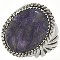 Dogtooth Amethyst Silver Mens Ring 29100