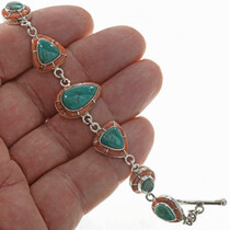 Southwest Turquoise Spiny Oyster Link bracelet 23774