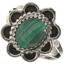 Malachite Silver Navajo Ladies Ring 28666