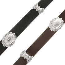 Sterling Silver Hatband Brown or Black Leather 26003