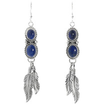 Lapis Sterling Silver Feather Earrings 29462