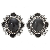 Black Onyx Silver Navajo Earrings 29518