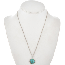 Navajo Genuine Turquoise Silver Pendant 29448