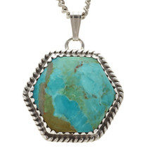 Native American Turquoise Silver Pendant 29448