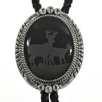 Navajo Onyx Silver Deer Bolo Tie 28910