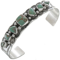 Navajo Turquoise Hammered Silver Cuff 10434