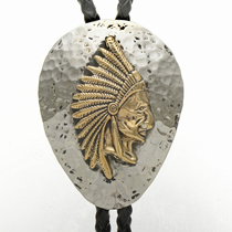Navajo Gold Chief Silver Bolo Tie 28404