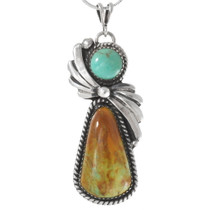 Navajo Turquoise Silver Pendant 27793