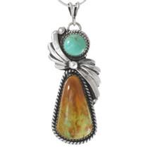 Navajo Turquoise Silver Pendant 27793