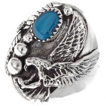 Silver Eagle Turquoise Mens Ring 25087