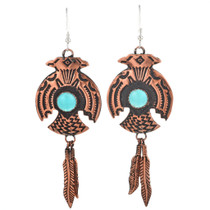 Copper Turquoise Navajo Earrings 23878