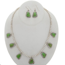 Silver Southwest Necklace Earrings Set 27845
