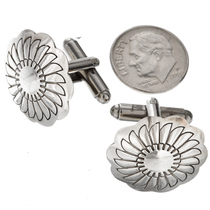 Navajo Hammered Sterling Concho Cuff Links 20841