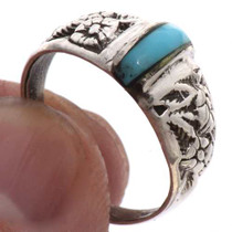 Turquoise Silver Flower Ring 25494