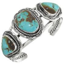 Navajo Three Stone Turquoise Silver Cuff 28361