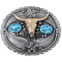 Navajo Longhorn Belt Buckle 17579
