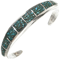 Inlaid Turquoise Silver Navajo Bracelet 29658