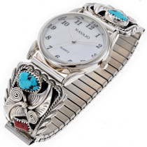 Turquoise Coral Sterling Watch 24526