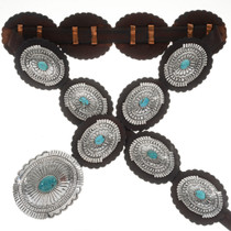 Turquoise Hammered Sterling Concho Belt 14013
