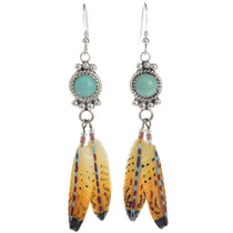 Turquoise Feather Dangle Earrings 22070