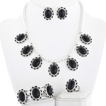 Gemstone Silver Bead Necklace Set 28914
