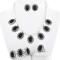 Gemstone Silver Bead Necklace Set 28914