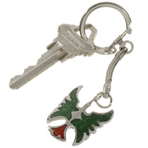 Southwest Inlaid Silver Key Ring 27676