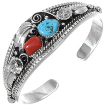 Turquoise Coral Sterling Cuff Bracelet 22531
