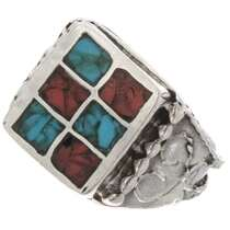 Turquoise Coral Mens Ring 25517